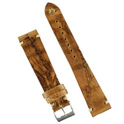 22mm Vintage Leather Watch Band Strap in Whiskey Italian Leather with an embossed croco print