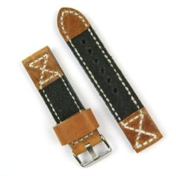 24mm Leather Watch Band in Oak Leather with Black Canvas Design