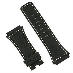 Bell and ross br02 watch strap in black carbon fiber with white stitching