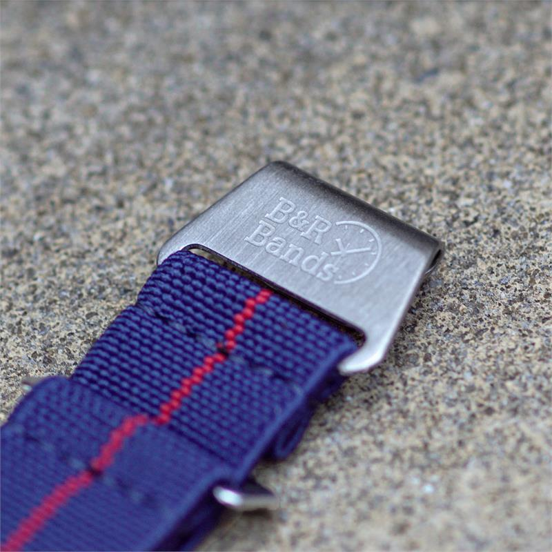 Navy + Red Elastic Parachute Military Watch Band | B & R Bands