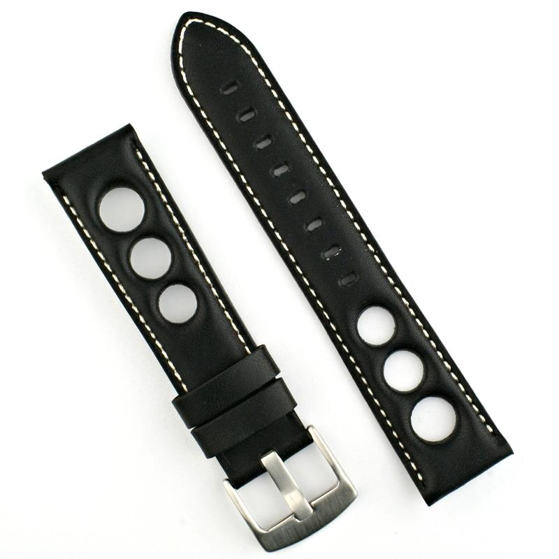 551192cf370 22mm Rallye Watch Strap Black Horween White Stitch