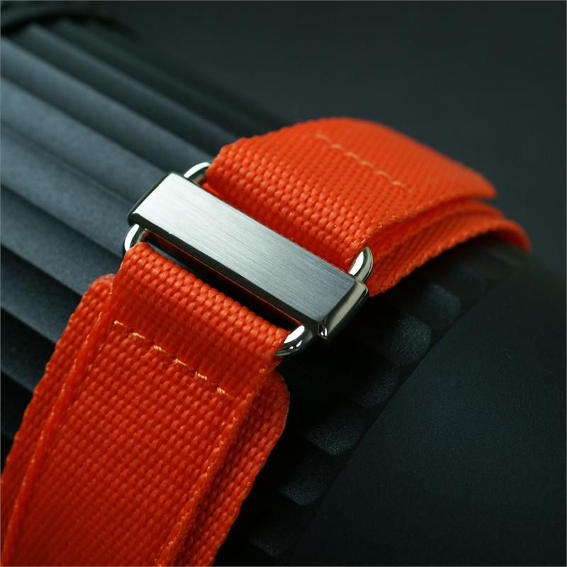 22mm Orange Nylon Hook N Loop Watch Band Stainless