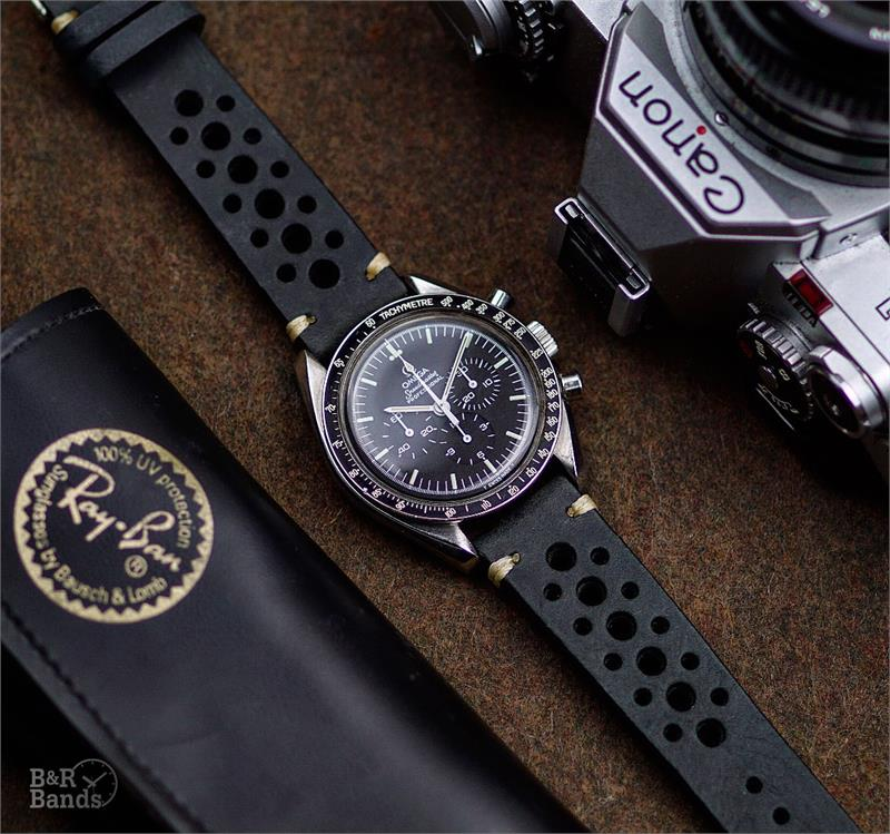 20mm Black Classic Vintage Racing Leather Watch Strap