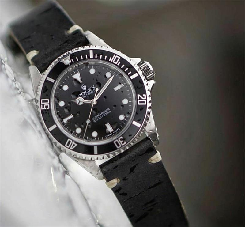 4c163f29598 ... Rolex Submariner on a BandRBands Black Classic Vintage Italian Leather  Watch Band Strap in a 20mm