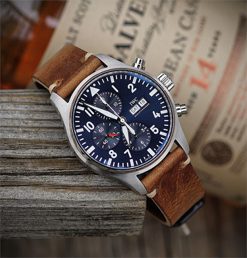 5fd967033 ... leather with 2 minimal Strap for IWC 3777 pilot watch with a 21mm lug  width made from a stunning Tan ...