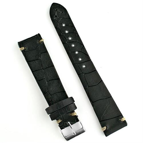 18mm 20mm 22mm Black Vintage Croco Watch Strap Band made from Italian Leather with handsewn ecru stitching