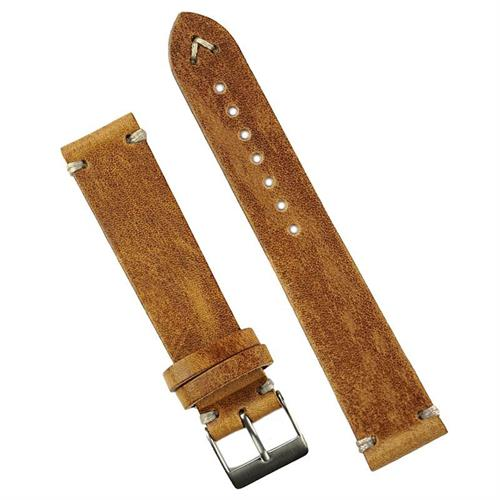 BandRBands 19mm Classic Vintage Leather Watch Band Strap in Oak Italian Leather with 2 minimal ecru stitching all handsewn in a vintage style