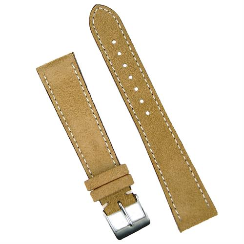 18mm Beige Suede watch Band Strap with white stitching BandRBands