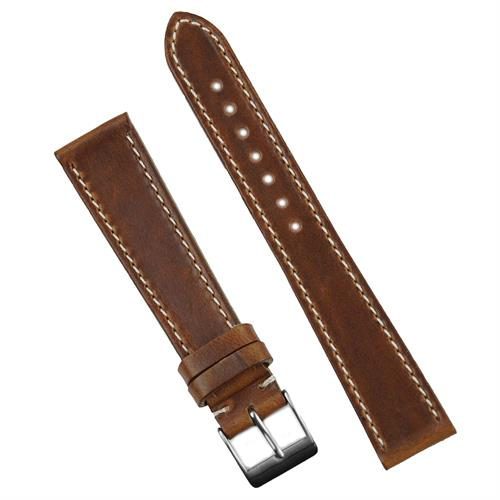 19mm 20mm Chicago Tan Horween Classic Leather Watch Band Strap made from Horween Chromexcel Leather with a contrast white stitch