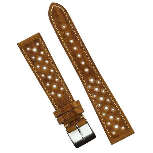 19mm Malt Le Mans Vintage Racing Watch Strap Band made from premium Italian leather with a classic contrast stitch