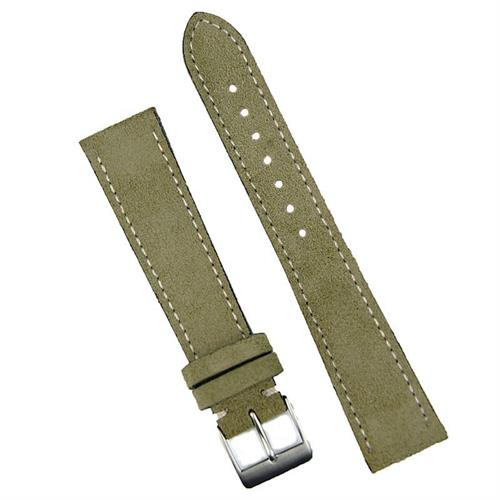 19mm Olive Classic Suede Watch Band Strap made from Italian suede with a classic white stitch sewn by hand BandRBands
