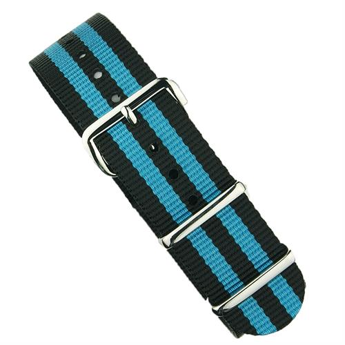 BandRBands 18mm 20mm 22mm Nato Nylon Watch Strap Band in Black & Blue with stainless steel