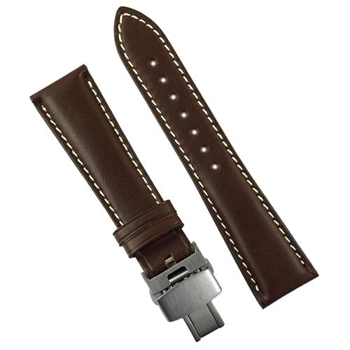 BandRBands 20mm 22mm Brown butterfly deployant watch strap band made from Italian leather with a white contrast stitch