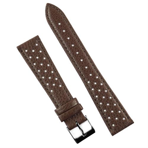 18mm 20mm 22mm Brown Grand Prix grained calf leather racing rallye watch band strap made from Italian leather in a classic corfam style