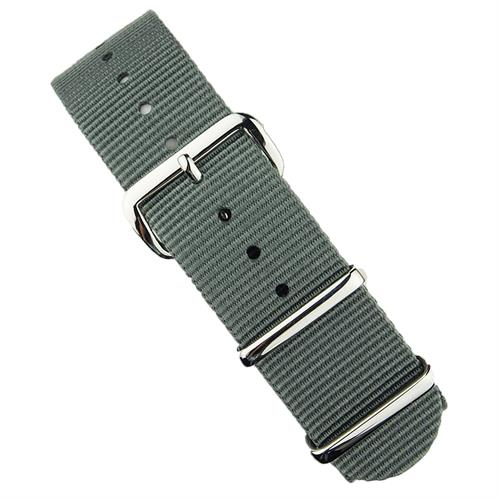 Nato Watch Strap Band in Gray Nylon with stainless steel hardware 18mm 20mm 22mm