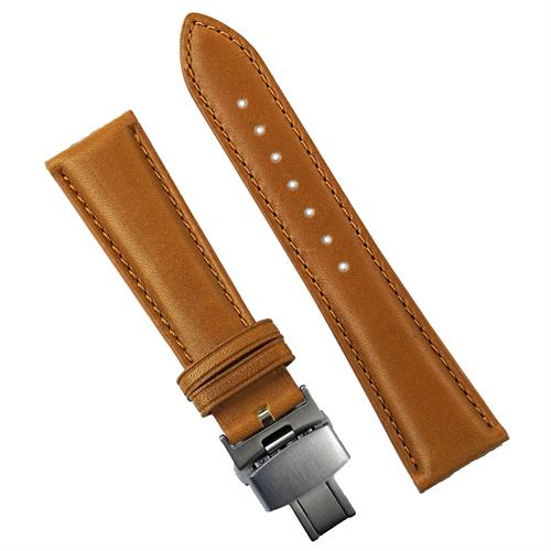 Honey Horween Deployant Watch Band Strap made from chicago's Horween latigo leather with a matching classic stitch design 20mm 22mm