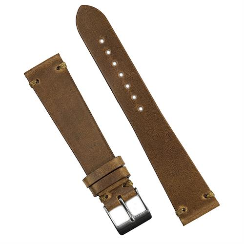 18mm 20mm 22mm Vintage Horween Leather Watch Band Strap in Natural Horween Chromexcel Leather with a khaki hand sewn stitch
