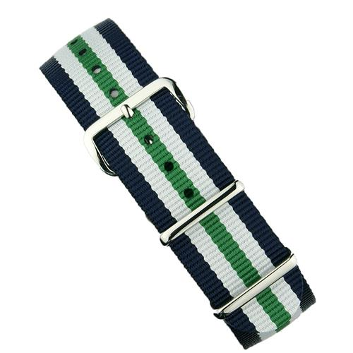 BandRBands 18mm 20mm 22mm Nato Watch Strap Band in Navy White Green