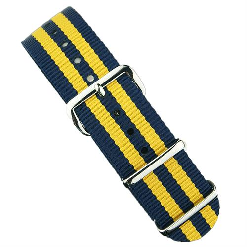18mm 20mm 22mm Nato Watch Strap Band in Yellow & Navy