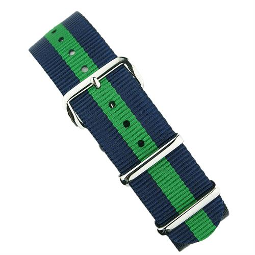 18mm 20mm 22mm Nato Watch Strap Band in Navy & Green with stainless steel hardware