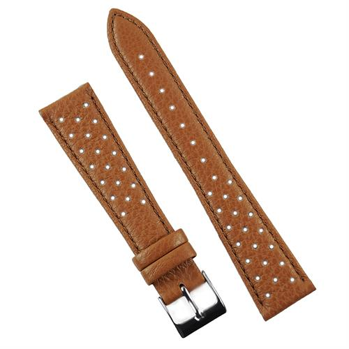 18mm 20mm 22mm Tan grained calf leather racing rallye watch band strap made from Italian leather in a classic corfam style