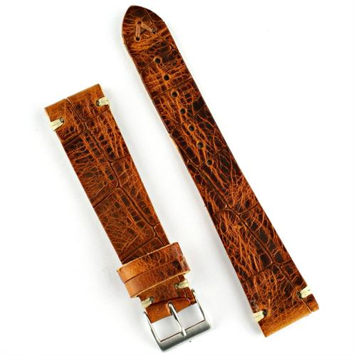 18mm 20mm 22mm vintage Croco watch band strap made from brown Italian leather with ecru stitching