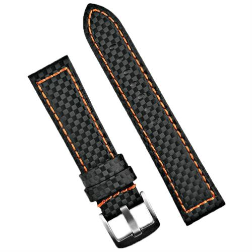 Panerai Carbon Fiber Watch Band Strap in black with orange stitching 22mm 24mm