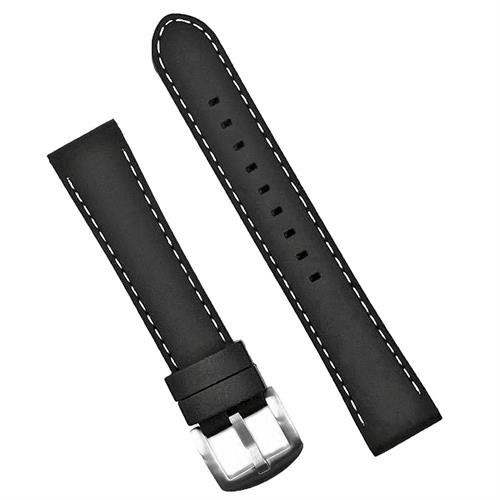20mm Black Silicone Watch Strap Band with White Stitching