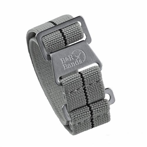 Marine Nationale Watch Band Strap Elastic Parachute Material 20mm 22mm Gray Black Stripe