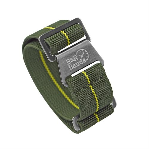 Marine Nationale Watch Band Strap Elastic Parachute Material 20mm 22mm Olive Yellow Stripe