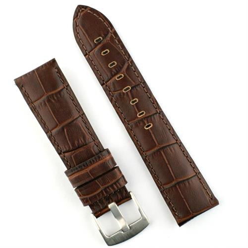 20mm brown embossed gator watch band with self stitching