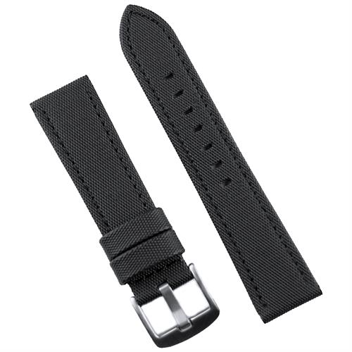 BandRBands 20mm Black Sailcloth Waterproof Watch Band Strap with a matching black stitch