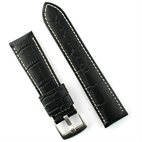 20mm black embossed gator leather watch band with white stitching