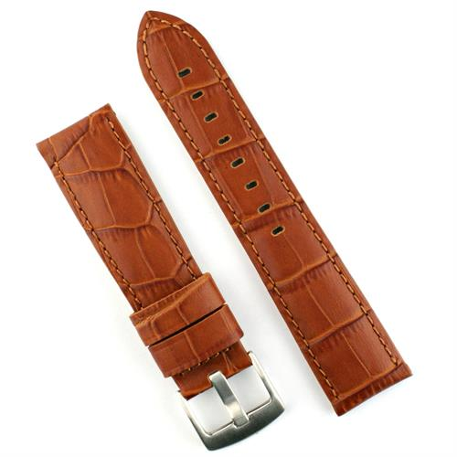 22mm Honey Gator Leather Watch Band Strap