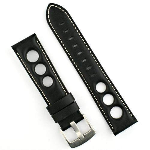 Rally Watch Strap Band in Black Horween with white stitches 20mm 22mm bandrbands