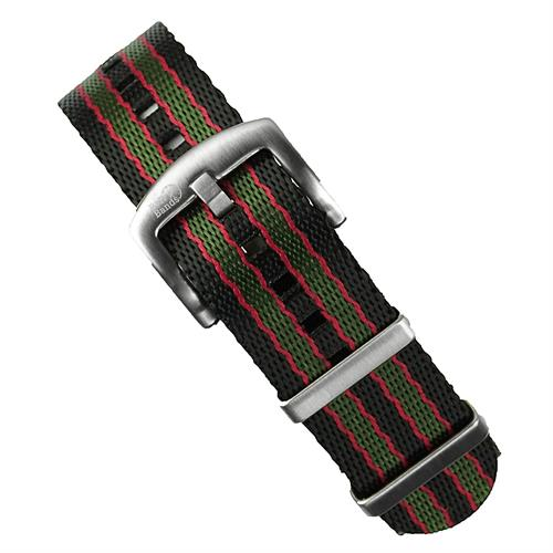 BandRBands Original Bond Nylon Seat Belt Nato Watch Band Strap in Red Green And Black in 20mm 22mm lug widths