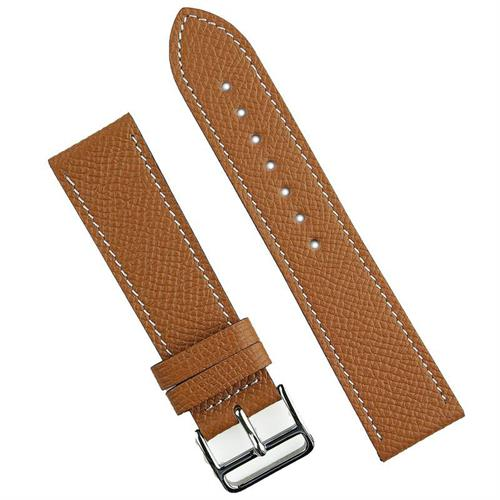 BandRBands 22mm Tan Hermes Watch Band Strap made from French Textured Leather with classic white stitching
