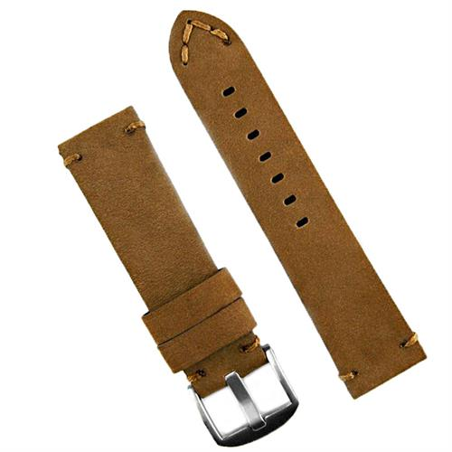 BandRBands 24mm Panerai Vintage watch strap band made from nubuck brown sueded leather with minimal brown stitching