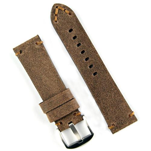 24mm Distressed Brown Vintage Leather Watch Strap Band with brown handsewn stitching