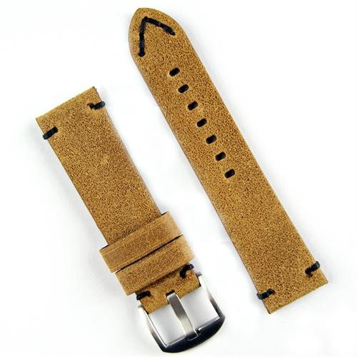 BandRBands 24mm Panerai Classic Vintage watch strap band in a light brown leather with minimal black stitching