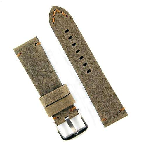 B & R Bands Panerai Classic Vintage Leather watch band strap in a military crazy horse pull up leather with minimal brown stitching 24mm