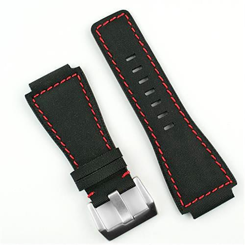 Bell and Ross Leather Watch Band Strap in Black Kevlar with red stitching