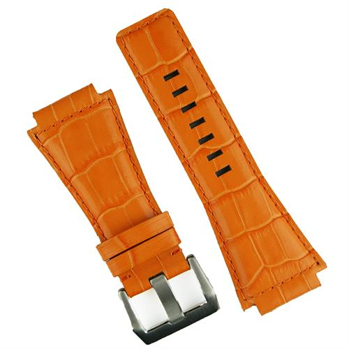 Bell and Ross replacement watch band in orange gator style