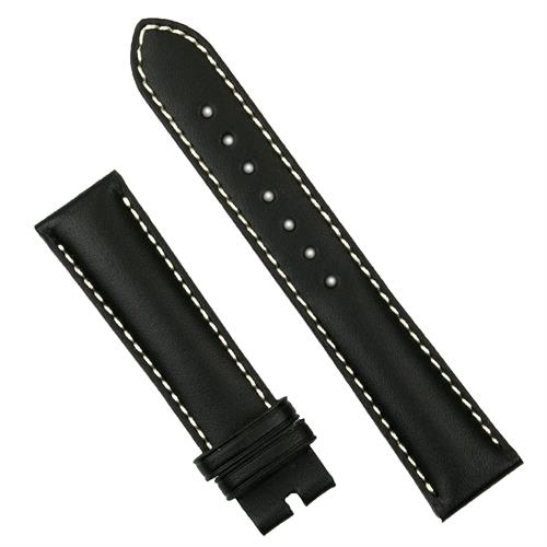 22mm black calf leather watch band with white stitch for deployant buckles