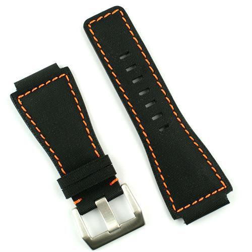 Bell and Ross Leather Watch Band Strap in Black Kevlar with Orange Stitching