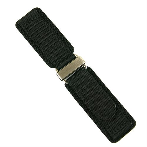 Black Velcro Watch Band Strap made from nylon material with a stainless steel buckle