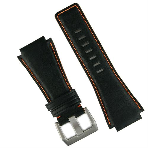 Bell and Ross Black Horween Leather Watch Band Strap with Orange Stitching and painted orange sides BandRBands