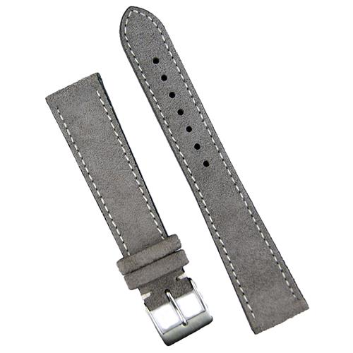 19mm Gray Italian Classic Suede Watch Band Strap with white stitching sewn by hand BandRBands