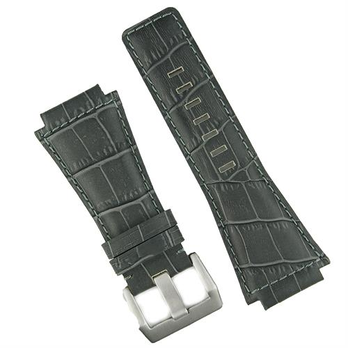 bell and ross watch band in gray gator leather