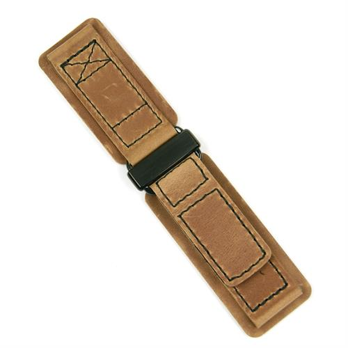 BandRBands Leather Velcro watch band Strap made from Tan Crazy Horse Leather with a PVD buckle 24mm